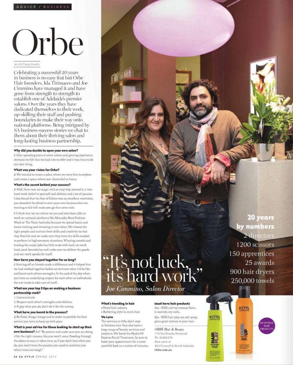 Orbe's successful 20 years – Issue SA Style, Issue 19, Spring 2014