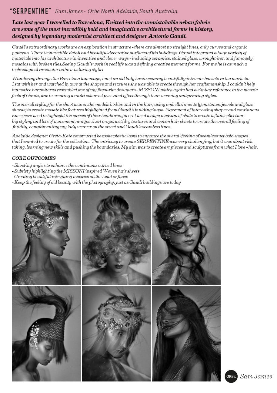 Sam James Finalist AHFA SA/Tas hairdresser of the year