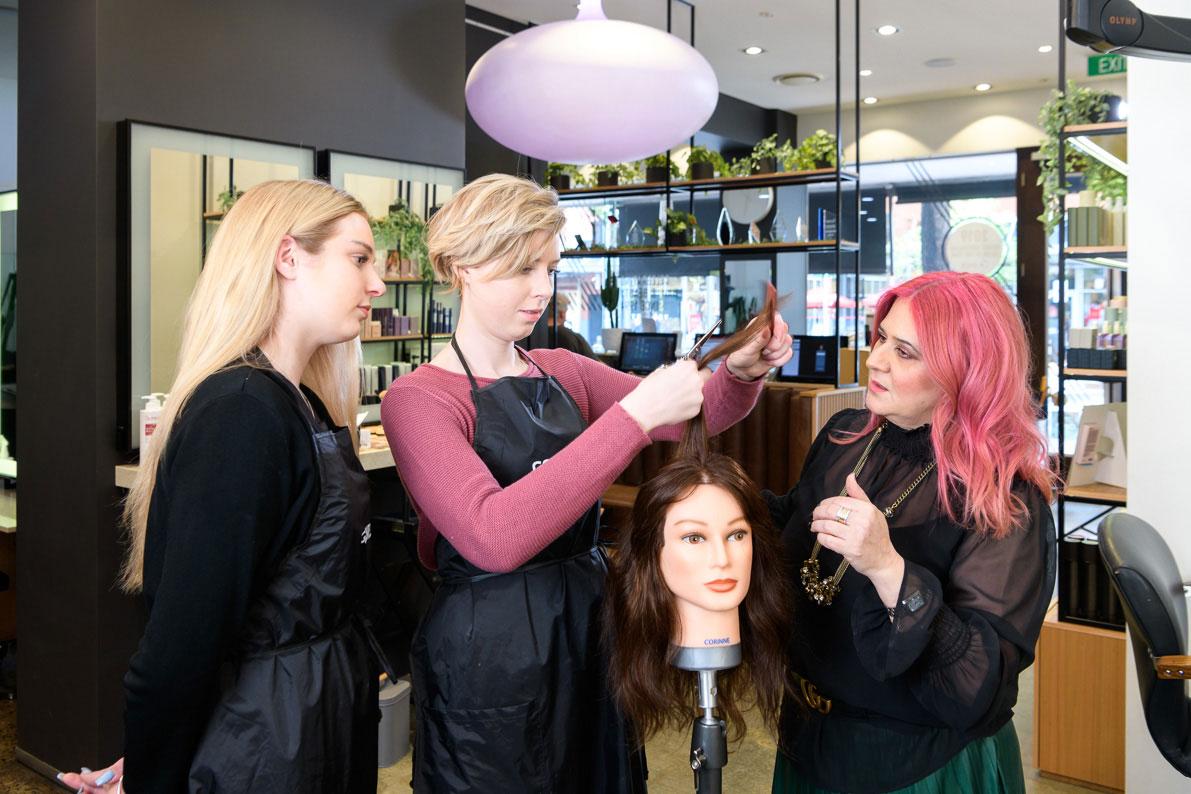 ORBE team hair cutting training